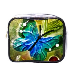 Blue Spotted Butterfly Art In Glass With White Spots Mini Toiletries Bags
