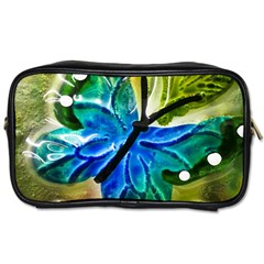 Blue Spotted Butterfly Art In Glass With White Spots Toiletries Bags 2 Side