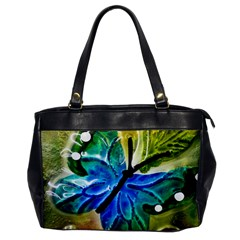 Blue Spotted Butterfly Art In Glass With White Spots Office Handbags