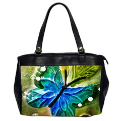 Blue Spotted Butterfly Art In Glass With White Spots Office Handbags (2 Sides)
