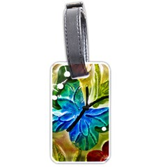 Blue Spotted Butterfly Art In Glass With White Spots Luggage Tags (One Side)