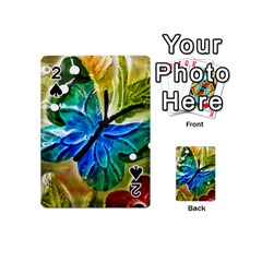 Blue Spotted Butterfly Art In Glass With White Spots Playing Cards 54 (Mini)