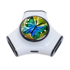Blue Spotted Butterfly Art In Glass With White Spots 3-Port USB Hub