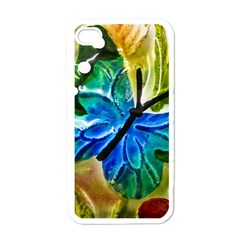 Blue Spotted Butterfly Art In Glass With White Spots Apple iPhone 4 Case (White)