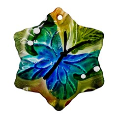 Blue Spotted Butterfly Art In Glass With White Spots Ornament (Snowflake)