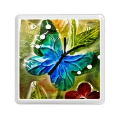 Blue Spotted Butterfly Art In Glass With White Spots Memory Card Reader (Square)