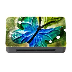 Blue Spotted Butterfly Art In Glass With White Spots Memory Card Reader With Cf