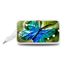 Blue Spotted Butterfly Art In Glass With White Spots Portable Speaker (White)