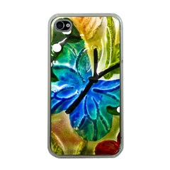 Blue Spotted Butterfly Art In Glass With White Spots Apple iPhone 4 Case (Clear)