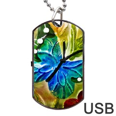 Blue Spotted Butterfly Art In Glass With White Spots Dog Tag USB Flash (Two Sides)