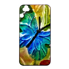 Blue Spotted Butterfly Art In Glass With White Spots Apple iPhone 4/4s Seamless Case (Black)