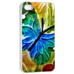 Blue Spotted Butterfly Art In Glass With White Spots Apple iPhone 4/4s Seamless Case (White)