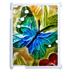 Blue Spotted Butterfly Art In Glass With White Spots Apple iPad 2 Case (White)