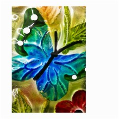 Blue Spotted Butterfly Art In Glass With White Spots Small Garden Flag (Two Sides)
