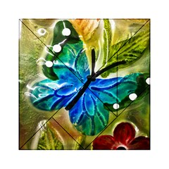 Blue Spotted Butterfly Art In Glass With White Spots Acrylic Tangram Puzzle (6  X 6 )