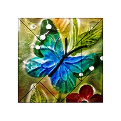 Blue Spotted Butterfly Art In Glass With White Spots Acrylic Tangram Puzzle (4  x 4 )