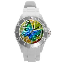 Blue Spotted Butterfly Art In Glass With White Spots Round Plastic Sport Watch (L)