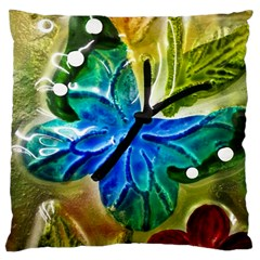 Blue Spotted Butterfly Art In Glass With White Spots Large Cushion Case (One Side)