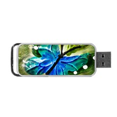 Blue Spotted Butterfly Art In Glass With White Spots Portable Usb Flash (one Side)