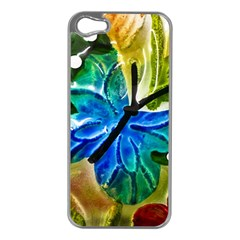 Blue Spotted Butterfly Art In Glass With White Spots Apple iPhone 5 Case (Silver)