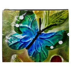 Blue Spotted Butterfly Art In Glass With White Spots Cosmetic Bag (xxxl)