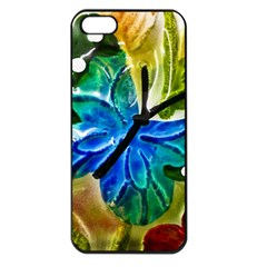 Blue Spotted Butterfly Art In Glass With White Spots Apple iPhone 5 Seamless Case (Black)