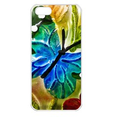 Blue Spotted Butterfly Art In Glass With White Spots Apple iPhone 5 Seamless Case (White)