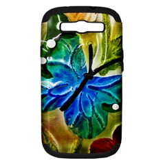 Blue Spotted Butterfly Art In Glass With White Spots Samsung Galaxy S III Hardshell Case (PC+Silicone)