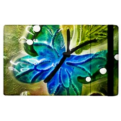 Blue Spotted Butterfly Art In Glass With White Spots Apple iPad 2 Flip Case
