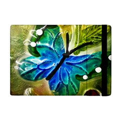 Blue Spotted Butterfly Art In Glass With White Spots Apple iPad Mini Flip Case