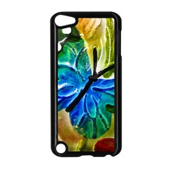 Blue Spotted Butterfly Art In Glass With White Spots Apple Ipod Touch 5 Case (black)