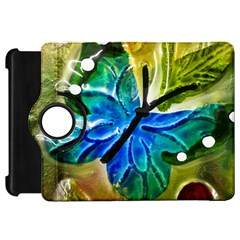 Blue Spotted Butterfly Art In Glass With White Spots Kindle Fire HD 7