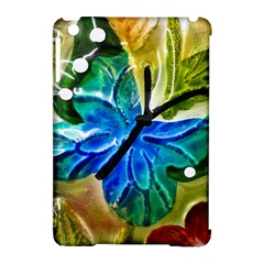 Blue Spotted Butterfly Art In Glass With White Spots Apple Ipad Mini Hardshell Case (compatible With Smart Cover)