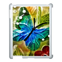 Blue Spotted Butterfly Art In Glass With White Spots Apple iPad 3/4 Case (White)