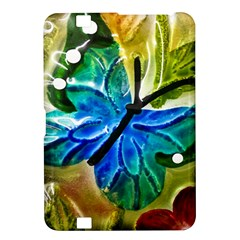 Blue Spotted Butterfly Art In Glass With White Spots Kindle Fire Hd 8 9