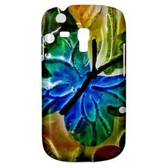 Blue Spotted Butterfly Art In Glass With White Spots Galaxy S3 Mini