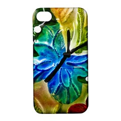Blue Spotted Butterfly Art In Glass With White Spots Apple iPhone 4/4S Hardshell Case with Stand