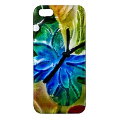 Blue Spotted Butterfly Art In Glass With White Spots Apple iPhone 5 Premium Hardshell Case