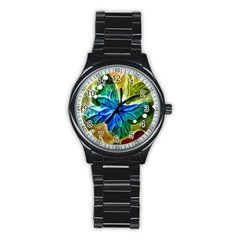 Blue Spotted Butterfly Art In Glass With White Spots Stainless Steel Round Watch