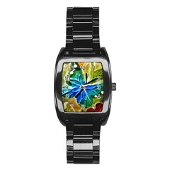 Blue Spotted Butterfly Art In Glass With White Spots Stainless Steel Barrel Watch