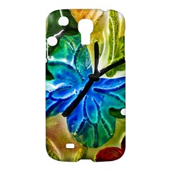 Blue Spotted Butterfly Art In Glass With White Spots Samsung Galaxy S4 I9500/I9505 Hardshell Case