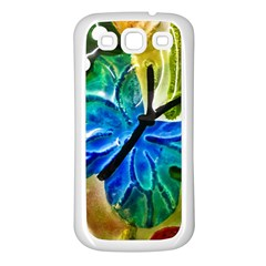 Blue Spotted Butterfly Art In Glass With White Spots Samsung Galaxy S3 Back Case (white)