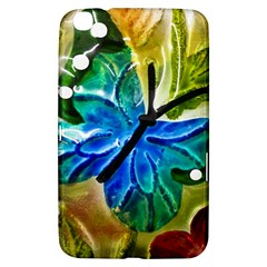 Blue Spotted Butterfly Art In Glass With White Spots Samsung Galaxy Tab 3 (8 ) T3100 Hardshell Case