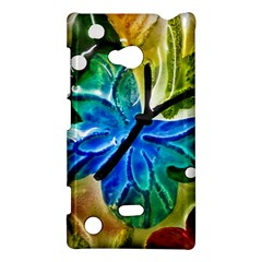 Blue Spotted Butterfly Art In Glass With White Spots Nokia Lumia 720