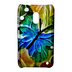 Blue Spotted Butterfly Art In Glass With White Spots Nokia Lumia 620