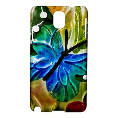 Blue Spotted Butterfly Art In Glass With White Spots Samsung Galaxy Note 3 N9005 Hardshell Case