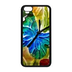 Blue Spotted Butterfly Art In Glass With White Spots Apple Iphone 5c Seamless Case (black)