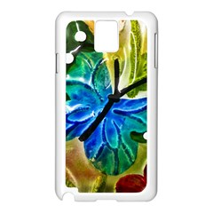 Blue Spotted Butterfly Art In Glass With White Spots Samsung Galaxy Note 3 N9005 Case (white)
