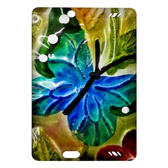 Blue Spotted Butterfly Art In Glass With White Spots Amazon Kindle Fire HD (2013) Hardshell Case
