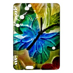 Blue Spotted Butterfly Art In Glass With White Spots Kindle Fire HDX Hardshell Case